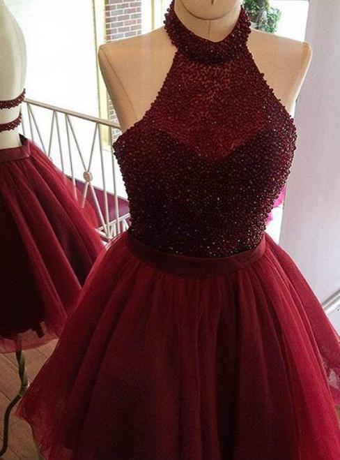 Sexy Short Burgundy Backless Homecoming DressesTulle Dress