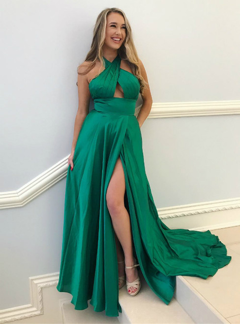 Green Satin Halter Cut Out  Backless Prom Dress With Side Split