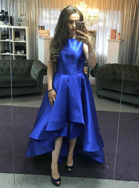 A-Line Royal Blue Satin Hi Lo Crew Neck Prom Dress