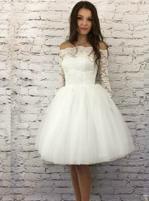 White Lace Off The Shoulder Half Sleeve Girls Short Homecoming Dress