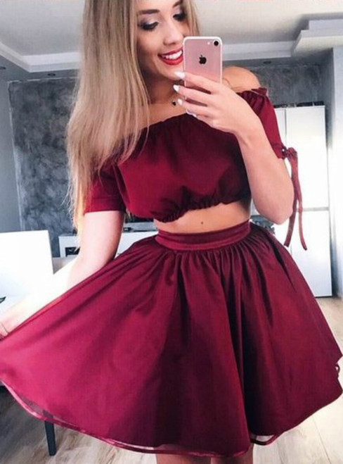 Burgundy Two Piece Off The Shoulder Short Homecoming Dress