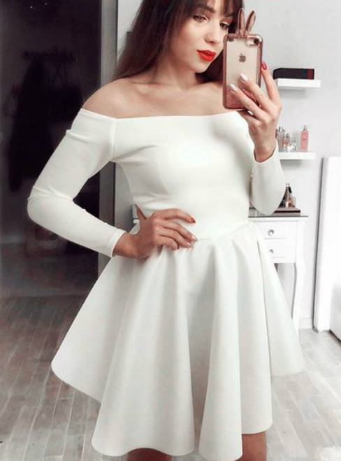 edbd0cad593e2e Off the Shoulder White Satin Long Sleeves Short Homecoming Dress