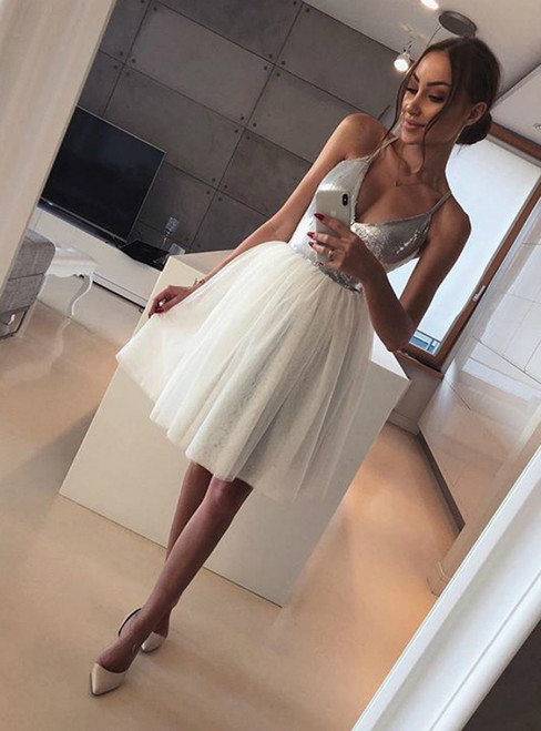 A Line V Neck Spaghetti Straps Sequins Tulle Silver Homecoming Dresses