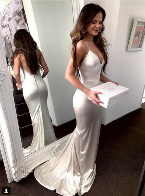 Ivory Sexy Mermaid  V Neck Backless Formal Prom Dress