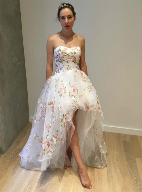 A-Line White Hi Lo Strapless Tulle Appliques Prom Dress