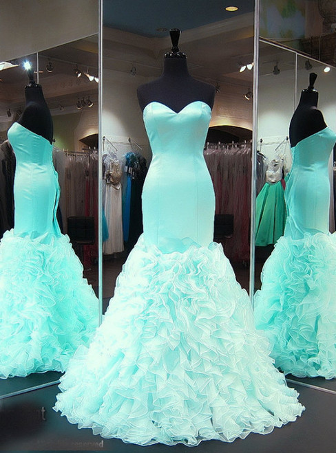 Chic Mermaid/Trumpet Prom Dresses V-Neck Lace Up Organza