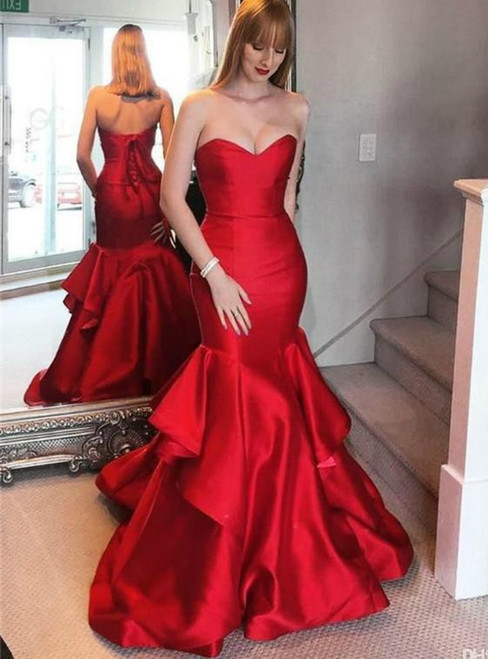 Red Sweetheart Mermaid Satin Prom Dress With Flouncing Skirt Evening Dress