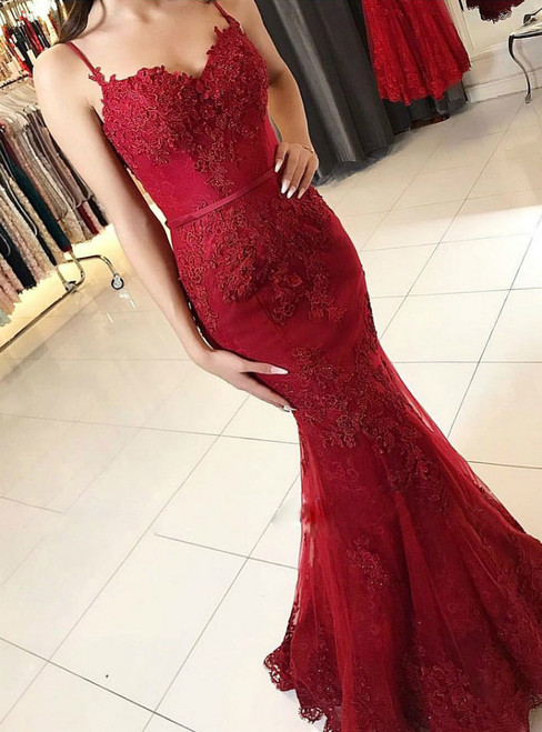 Spaghetti Strap Burgundy Lace Appliqued Mermaid Prom Dresses