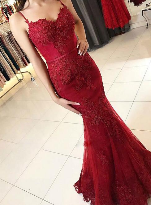 Spaghetti Strap Burgundy Lace Appliqued Mermaid Prom Dresses
