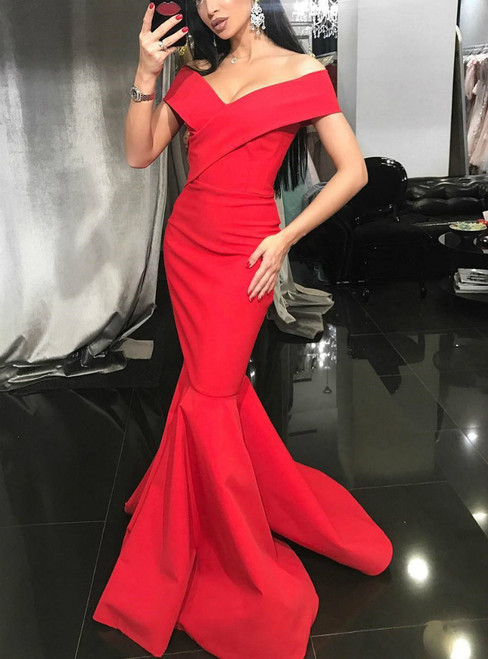 Mermaid Formal Red Off The Shoulder Satin Long Prom Dress