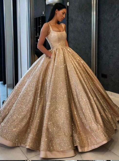 Ball Gown Sequins Gold Quinceanera Dress Sweet 16 Dresses With Pocket 0a036b308