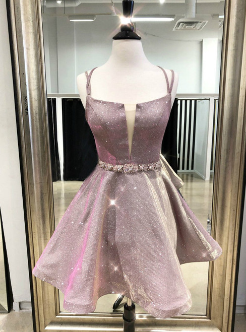 A-Line Pink Spaghetti Straps Sequins Short Homecoming Dress