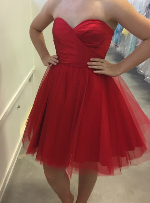 Red Satin and Tulle Sweet Sweetheart 16 Dresses Homecoming Dress