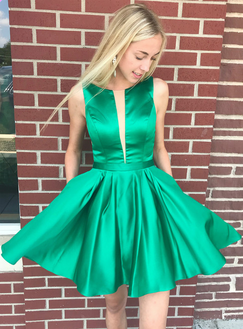 A-Line Princess Green Satin Backless Short Homecoming Dress With Pocket