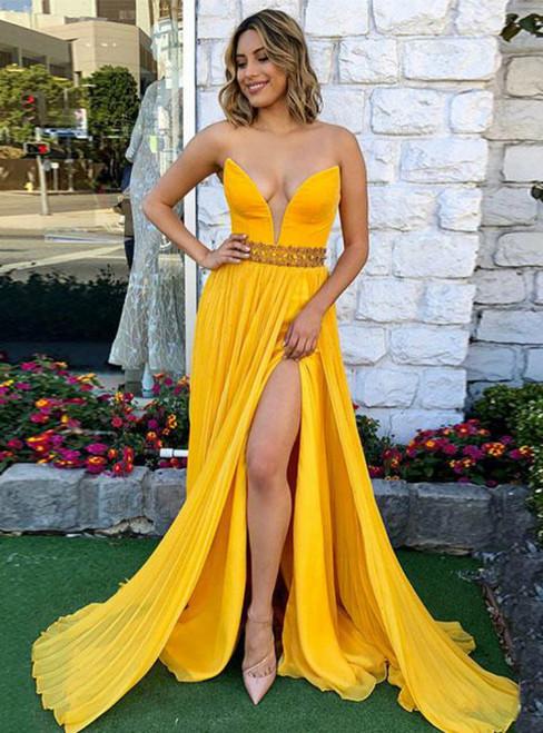 Yellow V-Neck Chiffon Prom Dress Split Side Evening Dress With Crystal