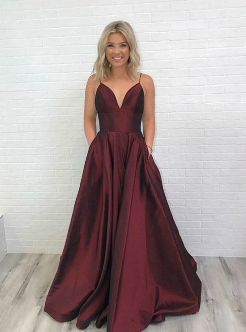 Burgundy Satin V-Neck Backless Long Prom Dress With Pockets