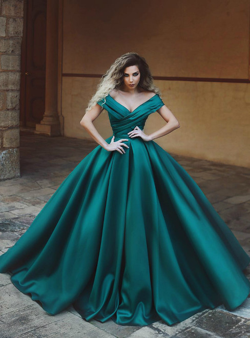 V-neck Ball Gowns Off The Shoulder Long Satin Dark Green Prom Dresses