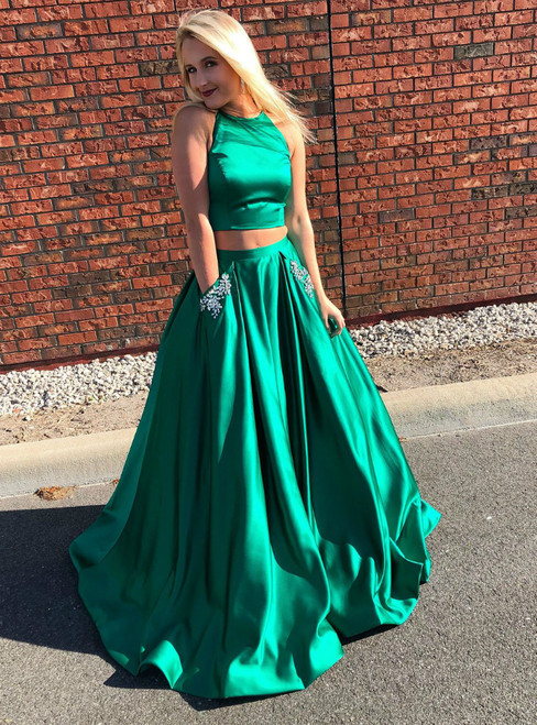 Simple Green Two Piece Satin Halter Backless Prom Dress With Pockets