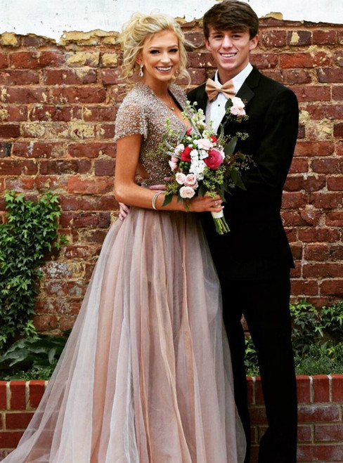 Luxurious V-Neck Beaded Short Sleeve Champagne Tulle Prom Dresses