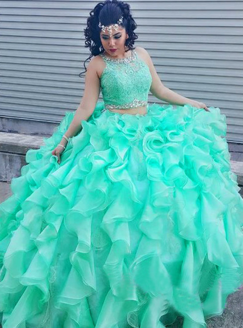 Fashion Two Pieces Quinceanera Dresses High Neck Bule Ball Gown