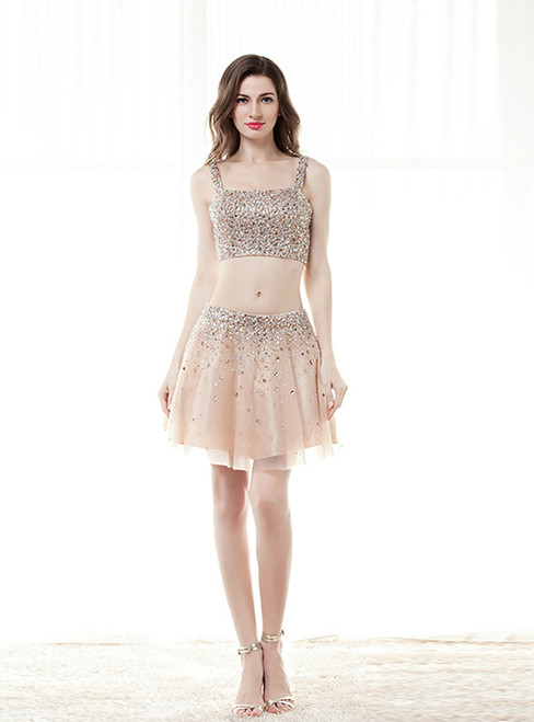 Champagne Two Piece Spaghetti Straps Homecoming Dress With Crystal