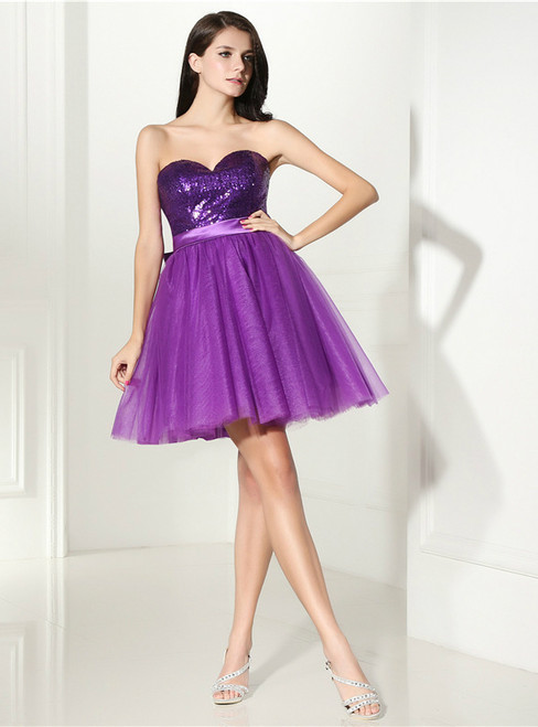 Purple Tulle Sequins Sweetheart Neck With Bow Homecoming Dress
