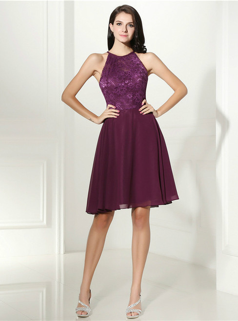 Purple Chiffon Lace Halter Backless Short Homecoming Dress