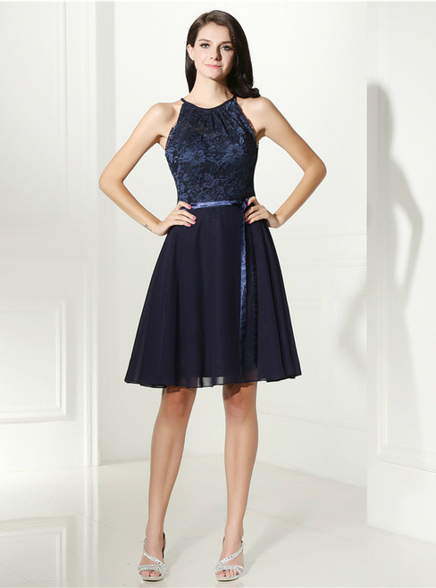 Blue Chiffon Lace Halter Backless Knee Length Homecoming Dress