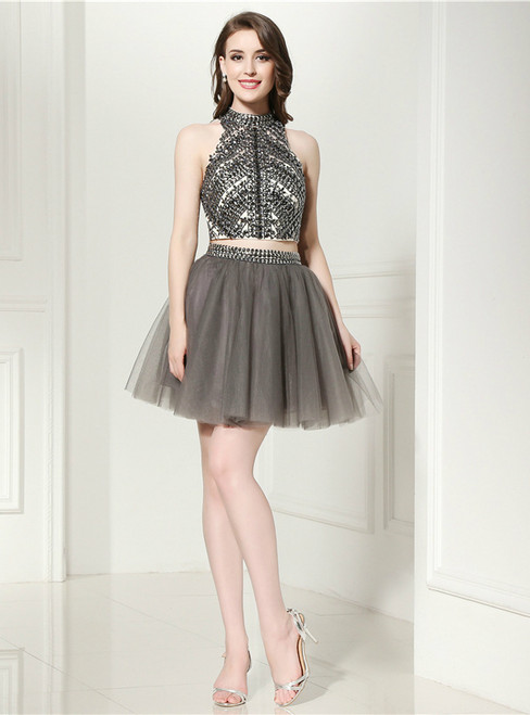Gray Two Piece Halter Backless Tulle Beading Homecoming Dress