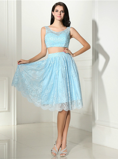 Blue Lace Two Piece Backless Homecoming Dress With Pearls