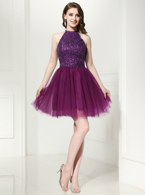 Purple Tulle Halter Backless Homecoming Dress With Beading