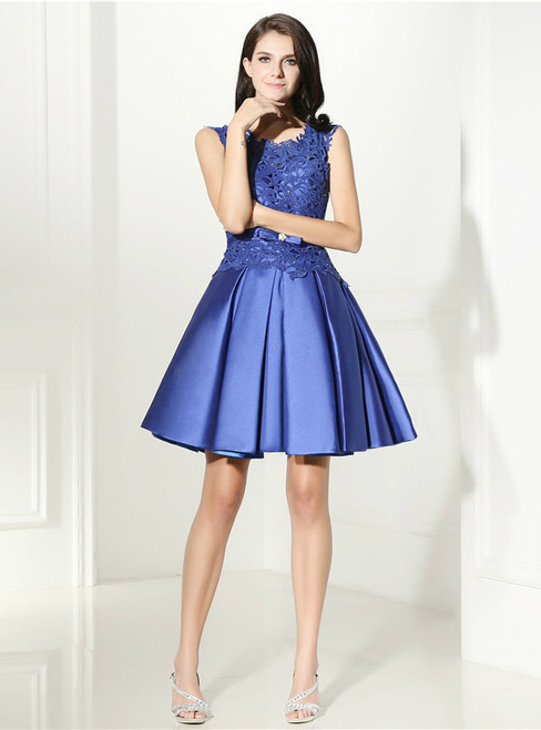 A-Line Blue Satin Lace Short Homecoming Dress With Sash