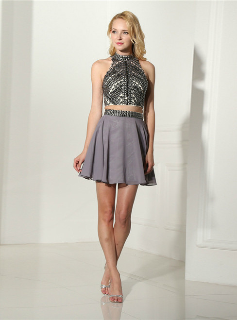 Gray Chiffon Halter Backless Two Piece Homecoming Dress