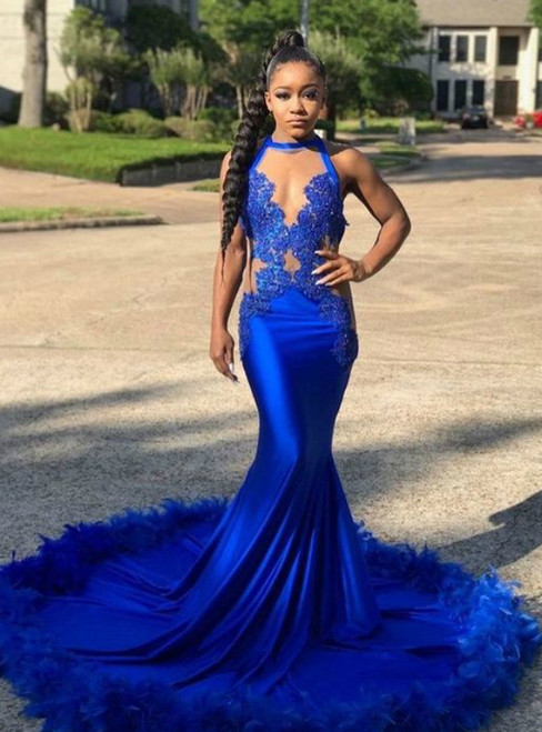 Mermaid Royal Blue Satin Halter Neck lace Appliques Floor Length Prom Dress