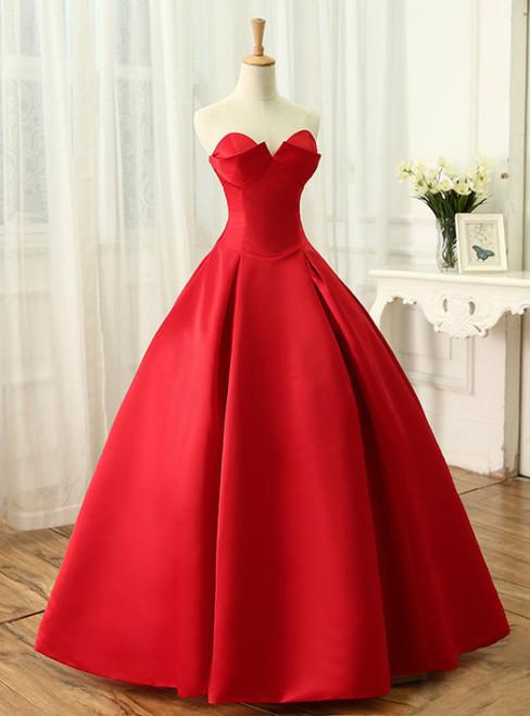 4e28d222fd Beautiful Red Satin Prom Dresses A-Line Sweetheart Ball Sleeveless Backless