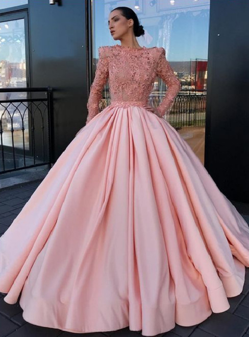 A-Line Bateau Long Sleeves Pink Satin Prom Dress With Appliques Appliques