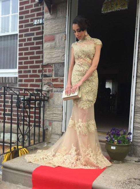 Mermaid Lace Appliques High Neck Backless Cap Sleeve Prom Dress