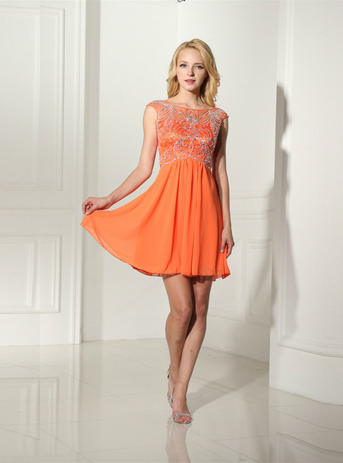 Orange Chiffon Cap Sleeve Short Homecoming Dress With Beading