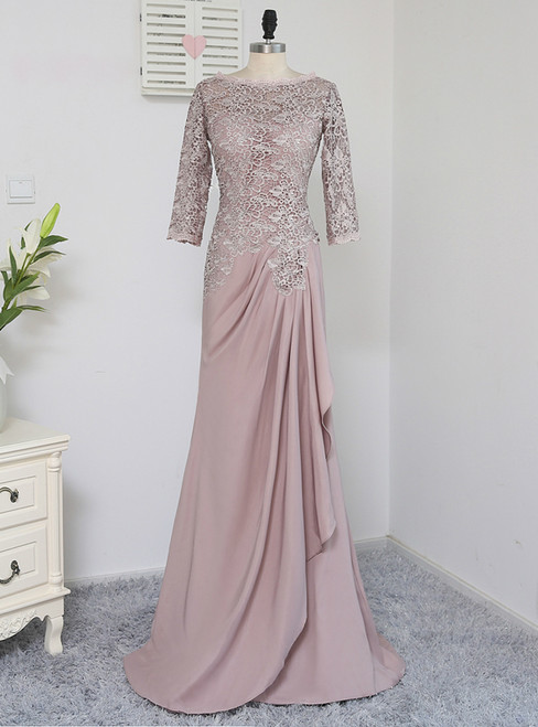 A-line 3/4 Sleeves Chiffon Lace Wedding Party Dress Mother Dresses