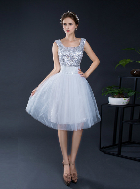 A-Line Silver Tulle Sequins Straps Backless Homecoming Dress