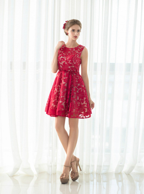 A-Line Red Lace Short Homecoming Dress With Sash