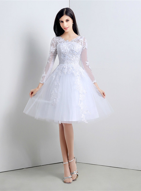 A-Line White Tulle Appliques Long Sleeve Homecoming Dress