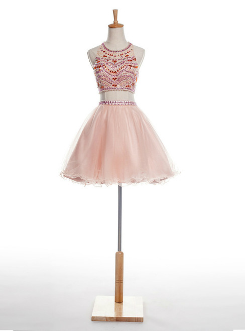 Pink Two Piece Halter Backless Tulle With Crystal Homecoming Dress