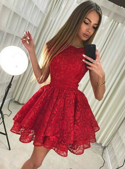 A-Line Cap Sleeves Short Red Lace Tiered Homecoming Dress With Bowknot