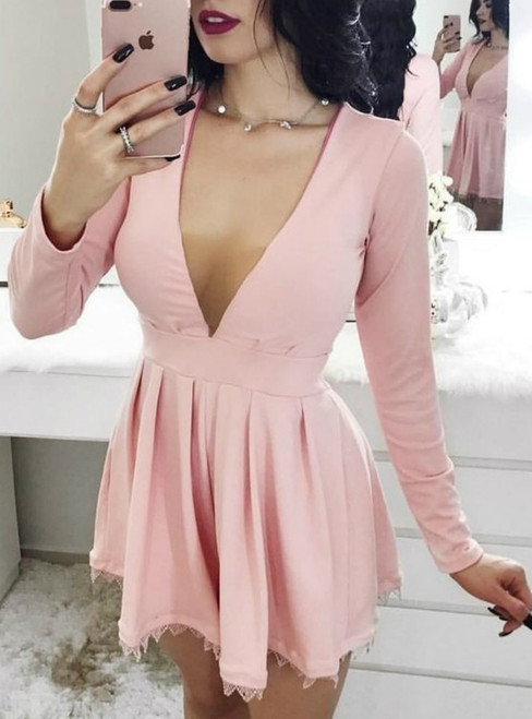 A-Line Deep V-Neck Long Sleeves Short Pink Homecoming Dress