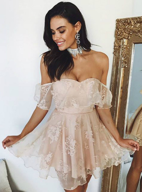 Champagne Off The Shoulder Appliques Mini Homecoming Dress
