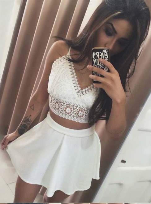 White Two Piece Spaghetti Straps Lace Short Homecoming Dress