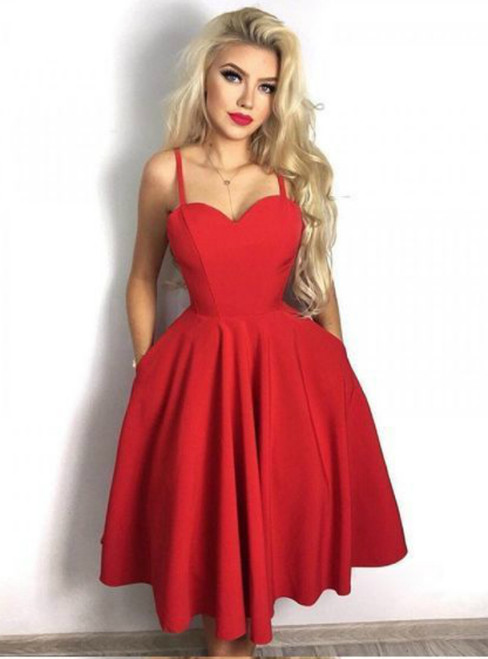 A-Line Spaghetti Straps Red Satin Homecoming Dress With Pockets