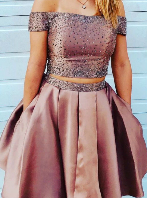 Two Piece Off The Shoulder Satin Short Homecoming Dresses With Pocket