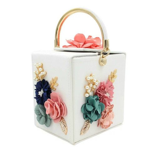Women Clutches White Flower Clutch Bag Box Clutch Purse Handbag